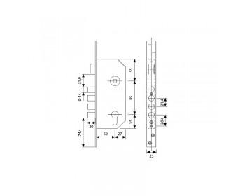 Cerradura tesa r-200b t60 50mm lt