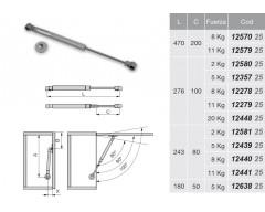 Amortiguador a gas puertas elevables l.243 08kg completo 1005625 emuca