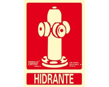 Señal hidrante 21x30 luminiscente