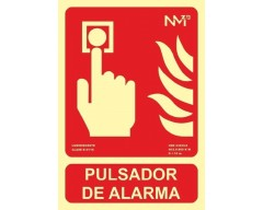 Señal pulsador alarma luminiscente clase b pvc 0.7mm