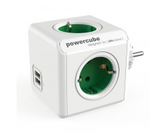 Powercube original 4 tomas + 2 usb verde