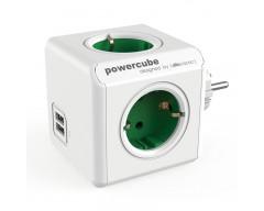 Powercube original 4 tomas + 2 usb verde