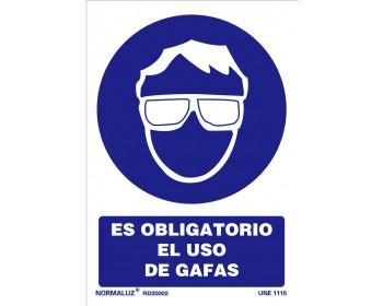 Señal uso obligatorio gafas 21x30